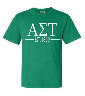 Alpha Sigma Tau Custom Greek Lettered Short Sleeve T-Shirt - Comfort Colors