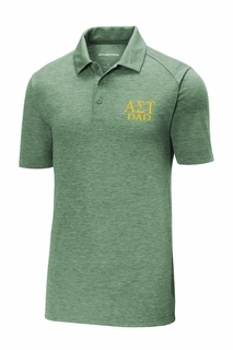 Alpha Sigma Tau Dad Posicharge Tri Blend Wicking Polo