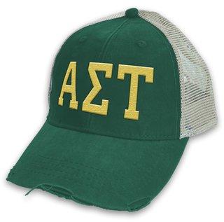 Alpha Sigma Tau Distressed Trucker Hat