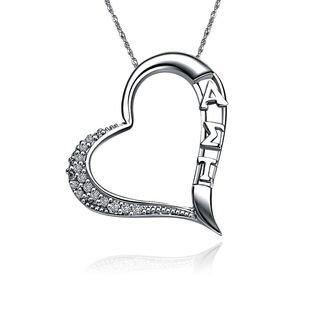 Alpha Sigma Tau Embedded Heart Silver  Lavaliere