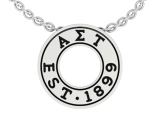 Alpha Sigma Tau Eternity Silver Charm Lavalier