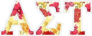 """Alpha Sigma Tau Floral Greek Letter Sticker - 2.5"""" Tall"""