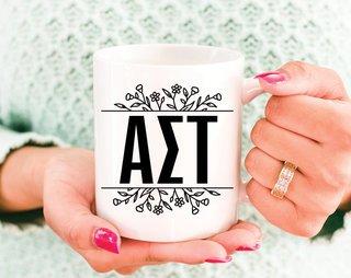 Alpha Sigma Tau Floral Letters Mug