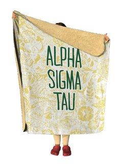Alpha Sigma Tau Floral Sherpa Lap Blanket