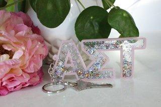 Alpha Sigma Tau Glitter Keychain