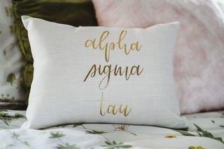Alpha Sigma Tau Gold Imprint Throw Pillow