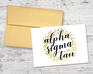 Alpha Sigma Tau Gold Wreath Notecards(6)