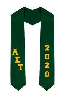 Alpha Sigma Tau Greek Diagonal Lettered Graduation Sash Stole With Year
