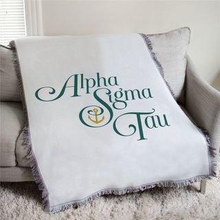 Alpha Sigma Tau Greek Letter Afghan Blanket Throw