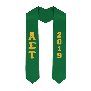 Alpha Sigma Tau Greek Lettered Graduation Sash Stole With Year - Best Value