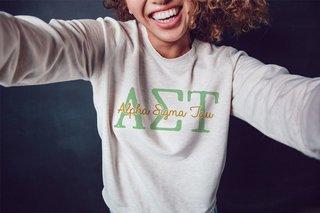 Alpha Sigma Tau Greek Type Crewneck Sweatshirt