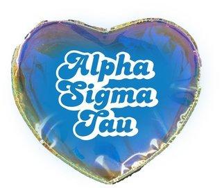 Alpha Sigma Tau Heart Shaped Makeup Bag