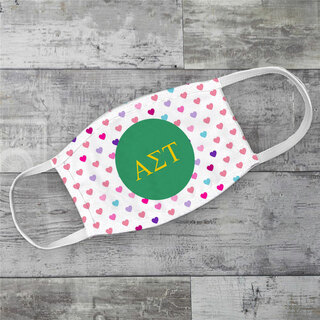 Alpha Sigma Tau Hearts Face Mask