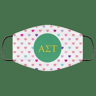 Alpha Sigma Tau Hearts Face Mask