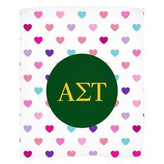 Alpha Sigma Tau Hearts Fleece Blanket
