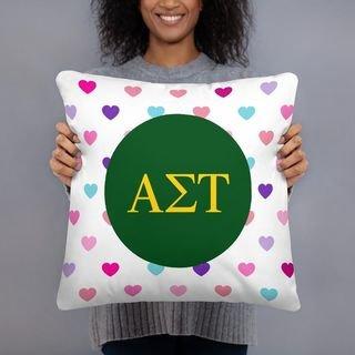 Alpha Sigma Tau Hearts Pillow