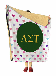 Alpha Sigma Tau hearts Sherpa Lap Blanket