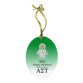 Alpha Sigma Tau Holiday Color Crest - Shield Glass Ornament