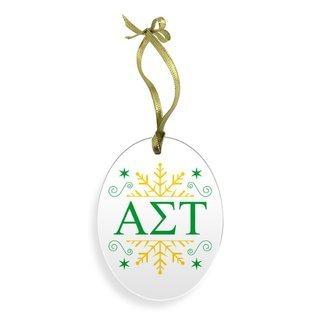 Alpha Sigma Tau Holiday Color Snowflake Glass Christmas Ornament