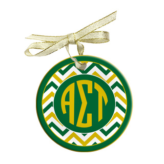 Alpha Sigma Tau Holiday Sorority Round Frosted Glass Ornament