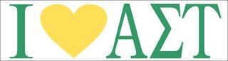 Alpha Sigma Tau I Love Bumper Sticker