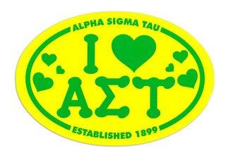 Alpha Sigma Tau I Love Sorority Sticker - Oval