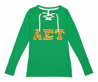 Alpha Sigma Tau LAT - Sorority Fine Jersey Lace-Up Long Sleeve T-Shirt