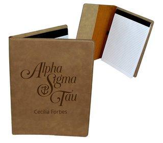 Alpha Sigma Tau Mascot Leatherette Portfolio with Notepad
