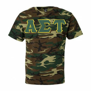 DISCOUNT-Alpha Sigma Tau Lettered Camouflage T-Shirt