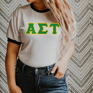 DISCOUNT-Alpha Sigma Tau Lettered Ringer Shirt
