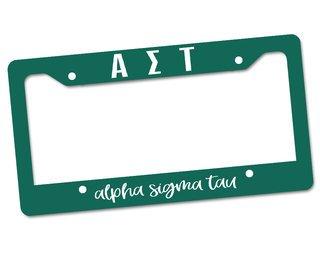 Alpha Sigma Tau Custom License Plate Frame