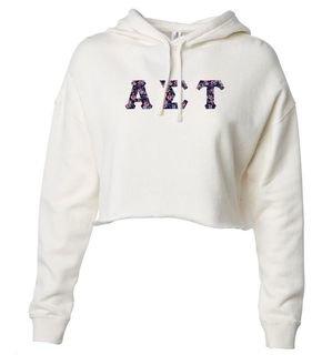 Alpha Sigma Tau Lightweight Hooded Pullover Crop Sweatshirt