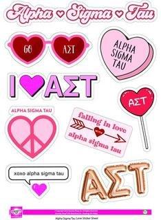Alpha Sigma Tau Love Theme Stickers