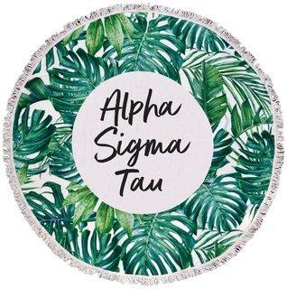 Alpha Sigma Tau Palm Leaf Fringe Towel Blanket