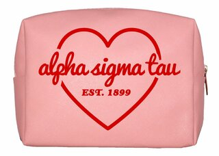 Alpha Sigma Tau Pink with Red Heart Makeup Bag