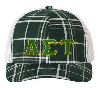 Alpha Sigma Tau Plaid Snapback Trucker Hat