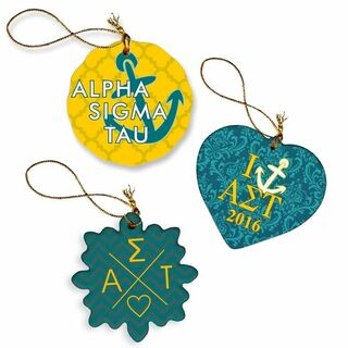 Alpha Sigma Tau Porcelain Ornament Trio Set