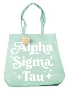 Alpha Sigma Tau Retro Pom Pom Tote Bag