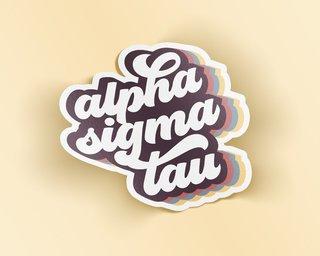 Alpha Sigma Tau Retro Sticker