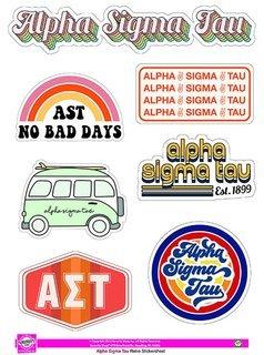 Alpha Sigma Tau Retro Sticker Sheet