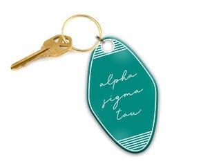 Alpha Sigma Tau Script Motel Keychain