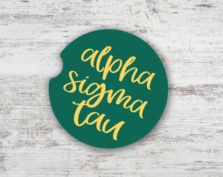 Alpha Sigma Tau Watercolor Sandstone Car Cup Holder Coaster