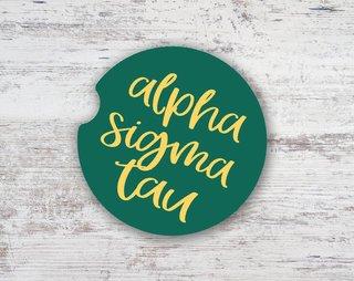 Alpha Sigma Tau Watercolor Sandstone Car Cup Holder Coaster