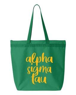 Alpha Sigma Tau Script Tote Bag