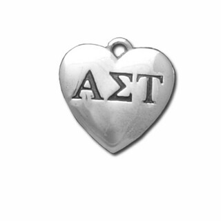 Alpha Sigma Tau Silver Greek Heart Charm
