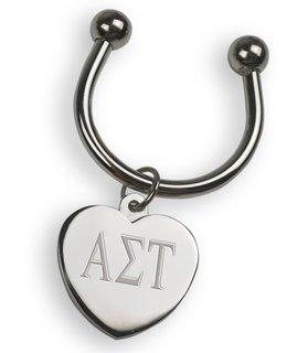 Alpha Sigma Tau Silver Heart Keyring