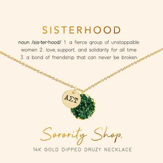 Alpha Sigma Tau Sisterhood Druzy Necklace
