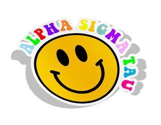 Alpha Sigma Tau Smiley Face Decal Sticker