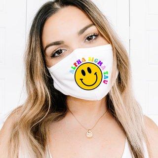 Alpha Sigma Tau Smiley Face Face Mask