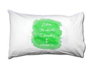 Alpha Sigma Tau Motto Watercolor Pillowcase